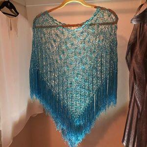 Crochet lace teal poncho Liz Claiborne